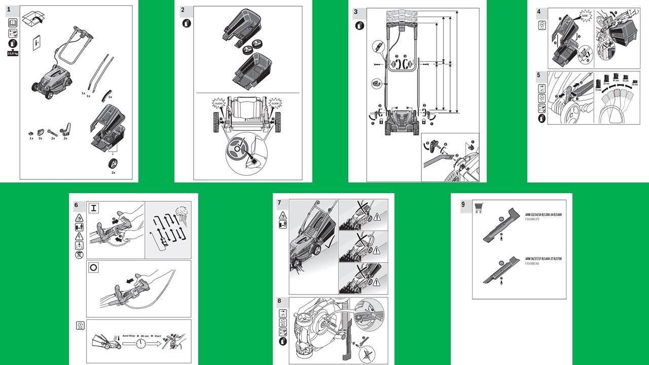 Intrucciones en español cortacesped Bosch 34